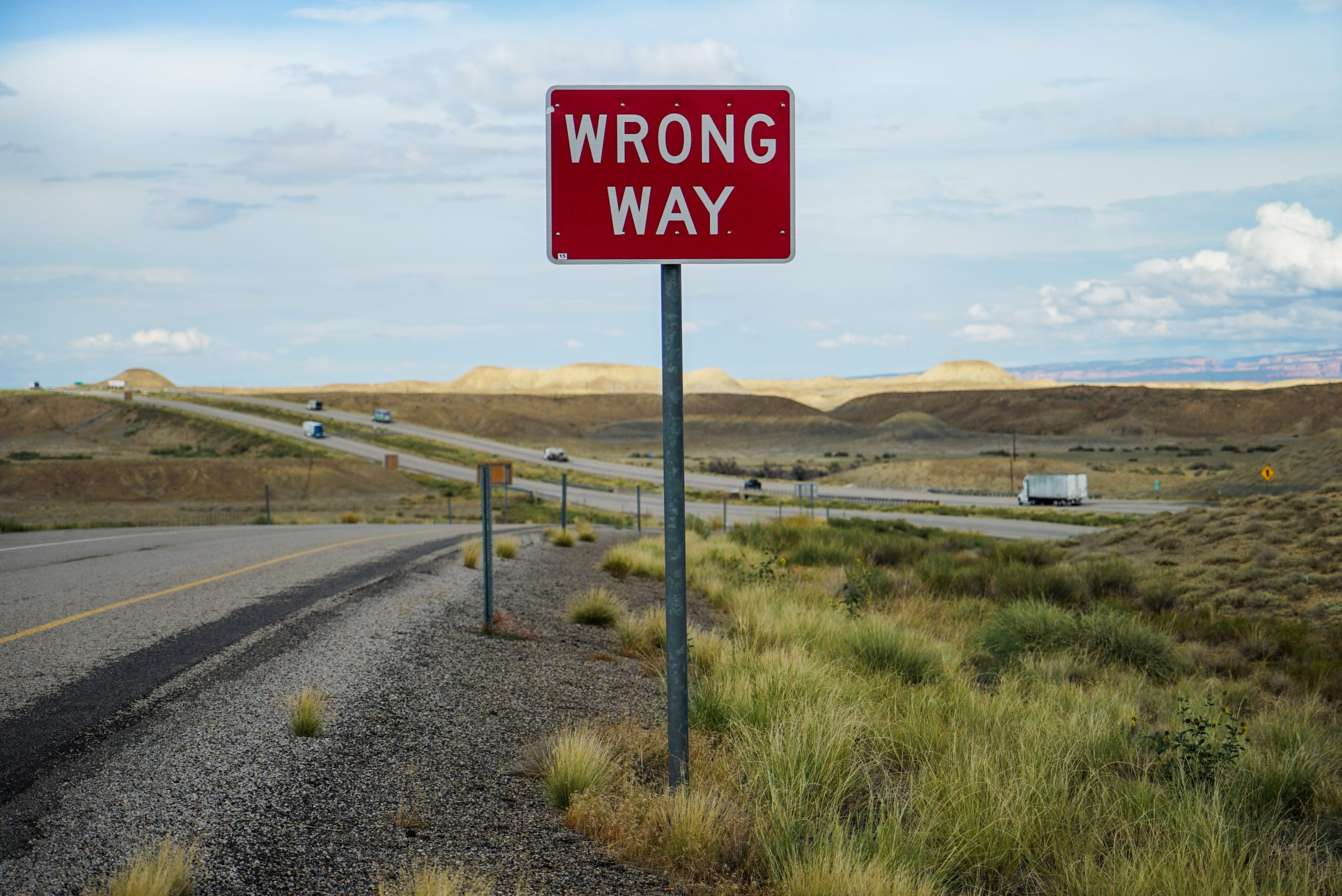 Wrong Way Road Sign